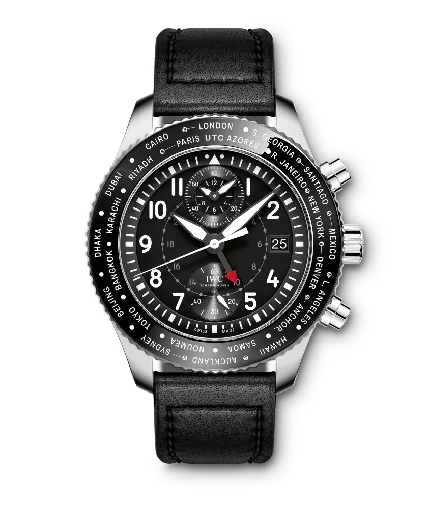 HANDOUT – The Pilot's Watch Timezoner Chronograph (Ref. IW395001) from IWC Schaffhausen features a stainless-steel case, black dial and black calfskin strap by Santoni with a stainless-steel folding clasp. This watch is a watchmaking master stroke: IWC Schaffhausen is the only watch manufacturer to offer a watch that enables the user to set another time zone, together with the date and 24-hour hand, in a single movement. (PHOTOPRESS/IWC)